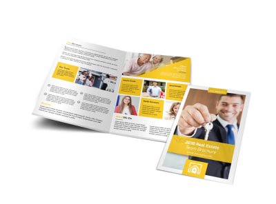 Yellow Real Estate Bi-Fold Brochure Template preview