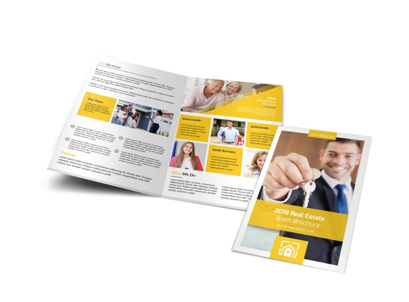 Yellow Real Estate Bi-Fold Brochure Template Preview 4