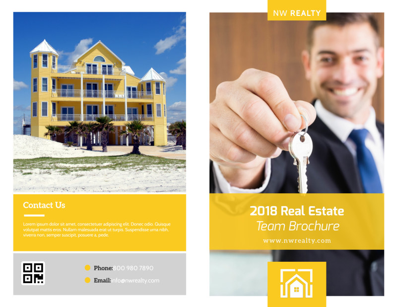 Yellow Real Estate Bi-Fold Brochure Template Preview 2
