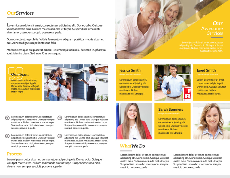 Yellow Real Estate Bi-Fold Brochure Template Preview 3