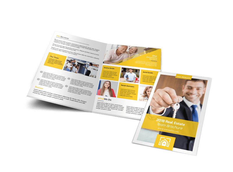 Yellow Real Estate Bi-Fold Brochure Template Preview 1