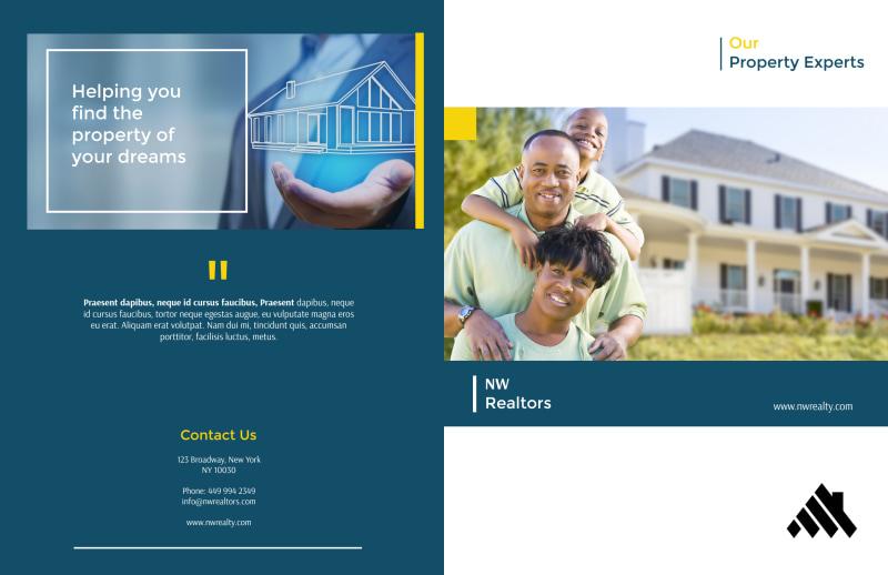 Real Estate Agency Team Bi-Fold Brochure Template Preview 2