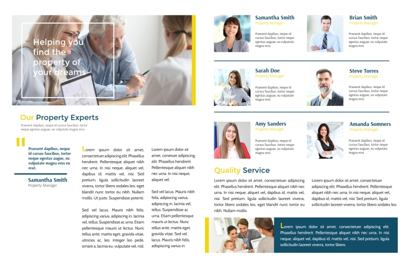 Real Estate Agency Team Bi-Fold Brochure Template Preview 3