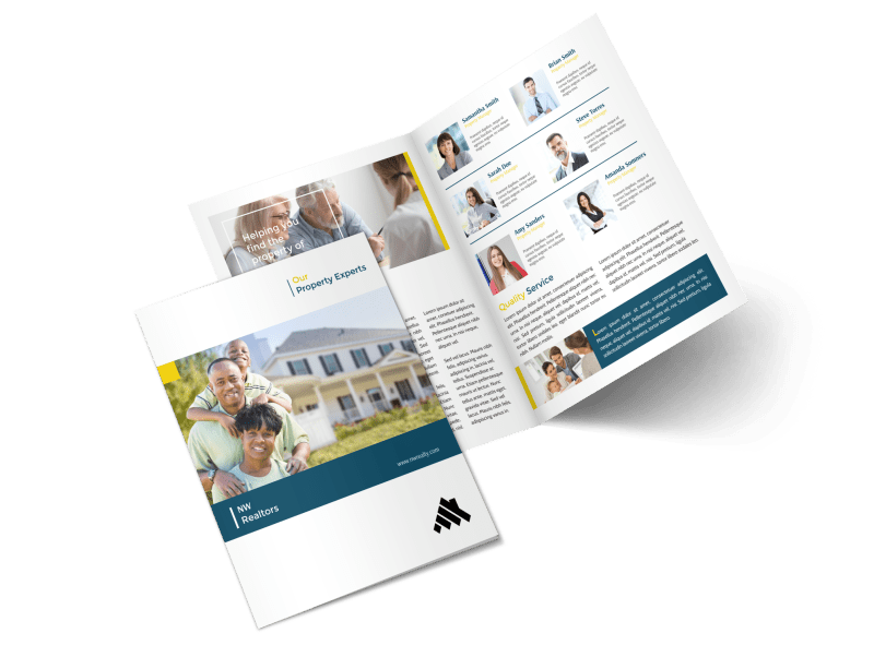 Real Estate Agency Team Bi-Fold Brochure Template Preview 1