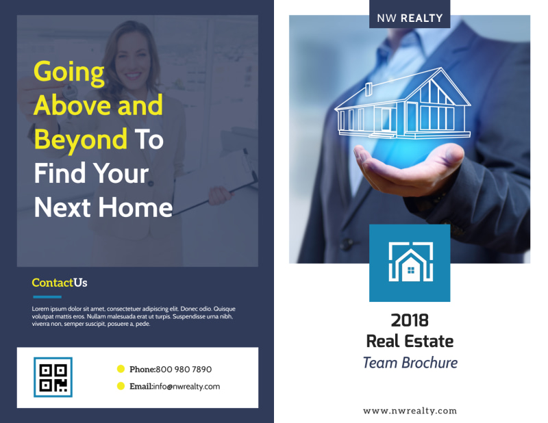 Real Estate Agent Group Bi-Fold Brochure Template Preview 2