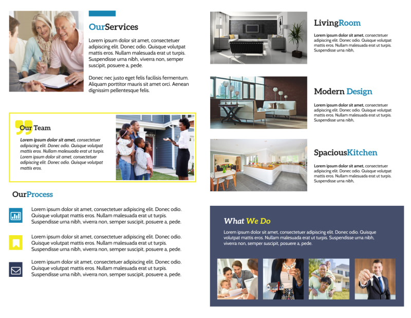 Real Estate Agent Group Bi-Fold Brochure Template Preview 3