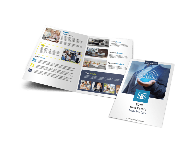 Real Estate Agent Group Bi-Fold Brochure Template Preview 1