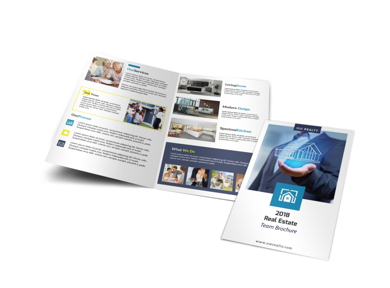 Real Estate Agent Group Bi-Fold Brochure Template Preview 4