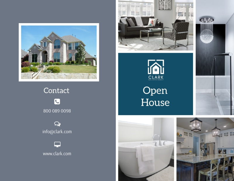 Blue Open House Bi-Fold Brochure Template Preview 2