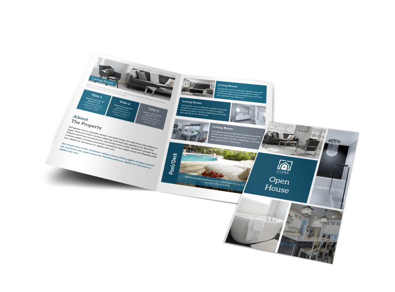 Blue Open House Bi-Fold Brochure Template Preview 1