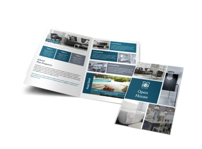 Blue Open House Bi-Fold Brochure Template preview
