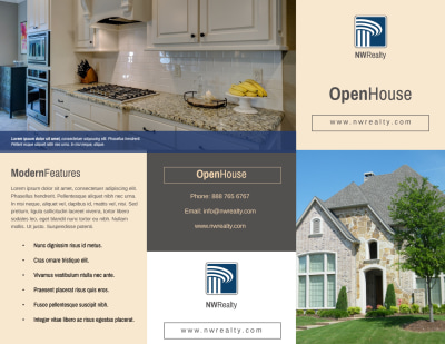 Awesome Open House Tri-Fold Brochure Template Preview 1