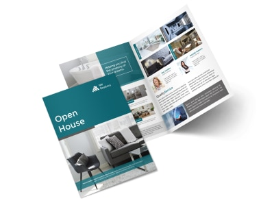 Teal Open House Bi-Fold Brochure Template preview