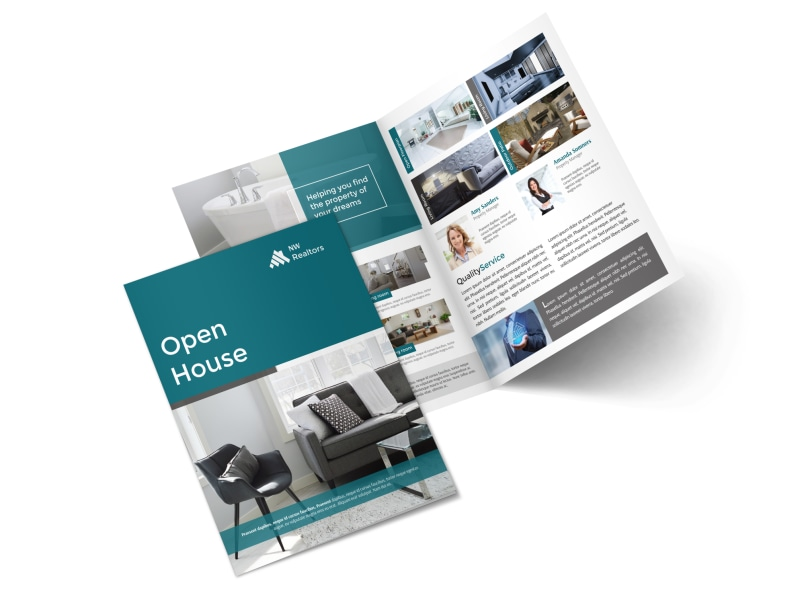 Teal Open House Bi-Fold Brochure Template Preview 4