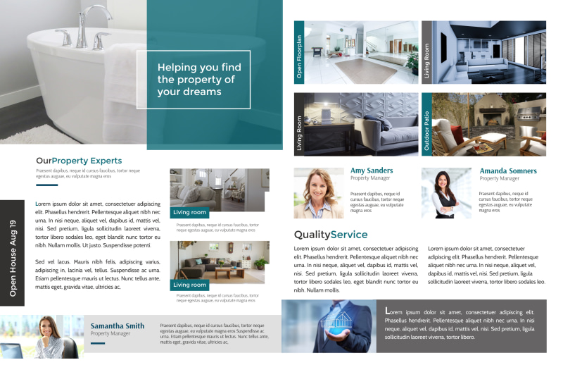 Teal Open House Bi-Fold Brochure Template Preview 3