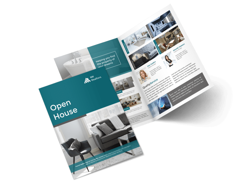 Teal Open House Bi-Fold Brochure Template Preview 1
