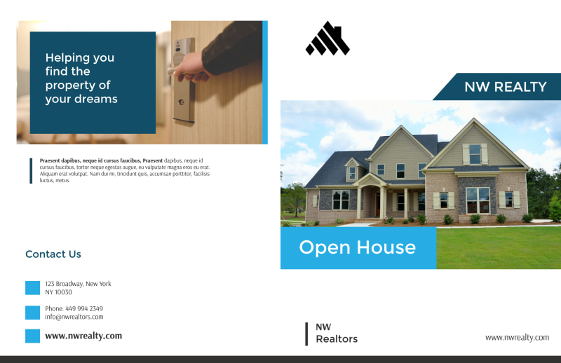 Professional Open House Bi-Fold Brochure Template Preview 2