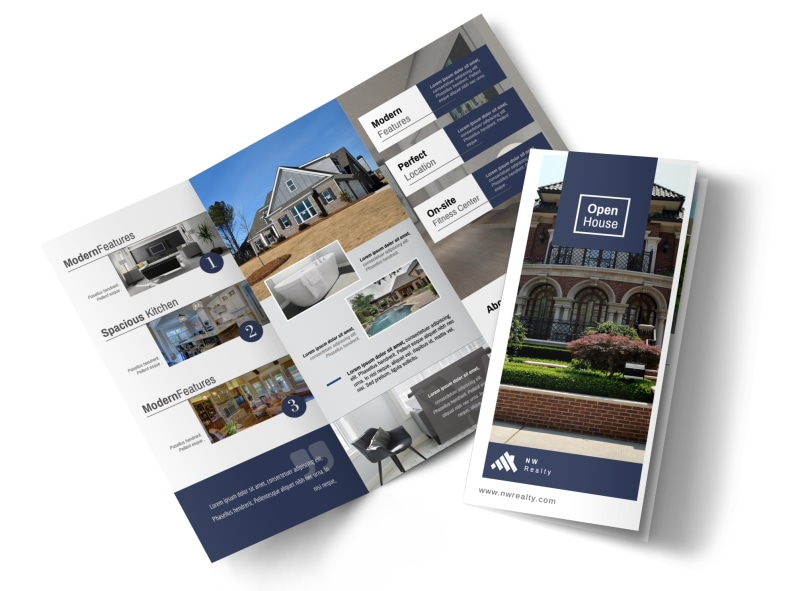 Real Estate Open House Tri-Fold Brochure Template Preview 4