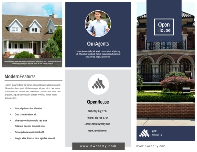 Real Estate Open House Tri-Fold Brochure Template Preview 1
