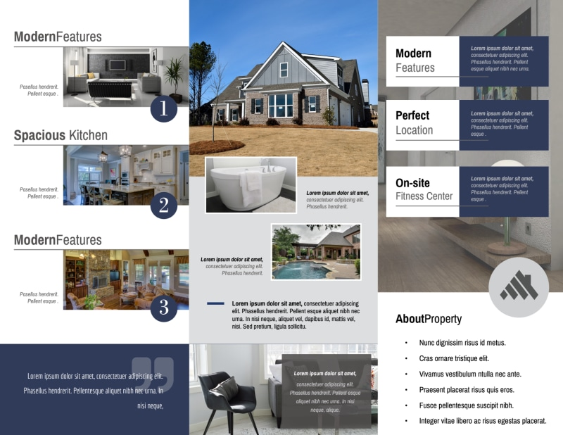 Real Estate Open House Tri-Fold Brochure Template Preview 3