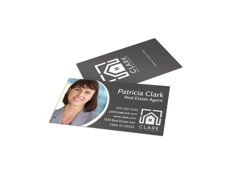 Dark Real Estate Agent Business Card Template Preview 1
