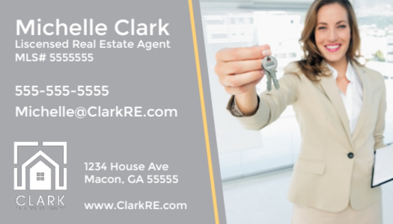 Gray Real Estate Business Card Template Preview 2