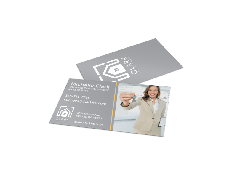 Gray Real Estate Business Card Template Preview 1
