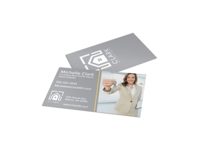 Gray Real Estate Business Card Template preview