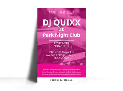 DJ Pink Poster Template preview