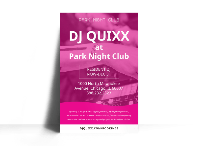 DJ Pink Poster Template Preview 1