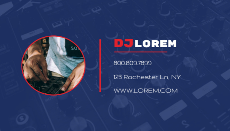 Blue DJ Business Card Template Preview 3