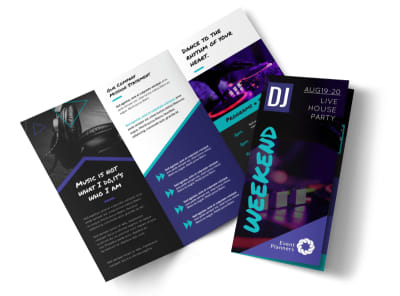 DJ Weekend Tri-Fold Brochure Template preview