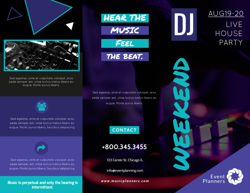 DJ Weekend Tri-Fold Brochure Template Preview 2