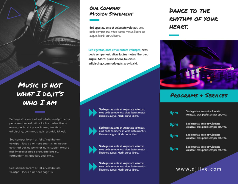 DJ Weekend Tri-Fold Brochure Template Preview 3