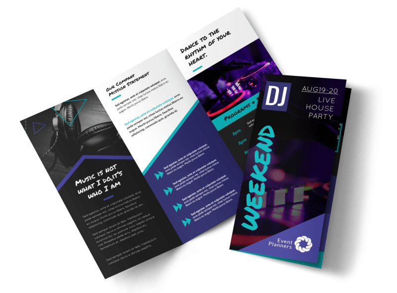 DJ Weekend Tri-Fold Brochure Template Preview 1