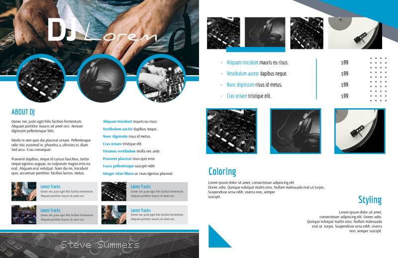 Classic DJ Bi-Fold Brochure Template Preview 3