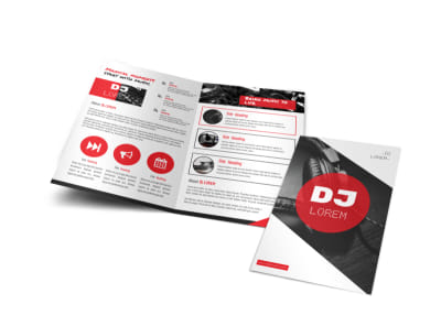 Red DJ Bi-Fold Brochure Template preview