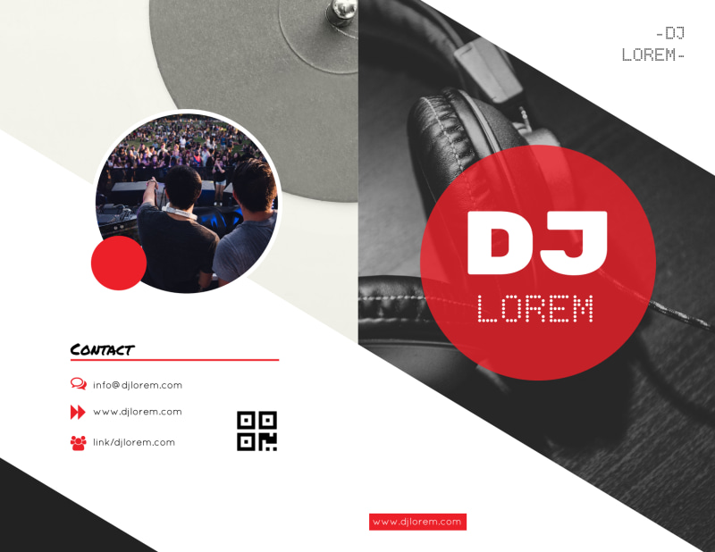 Red DJ Bi-Fold Brochure Template Preview 2