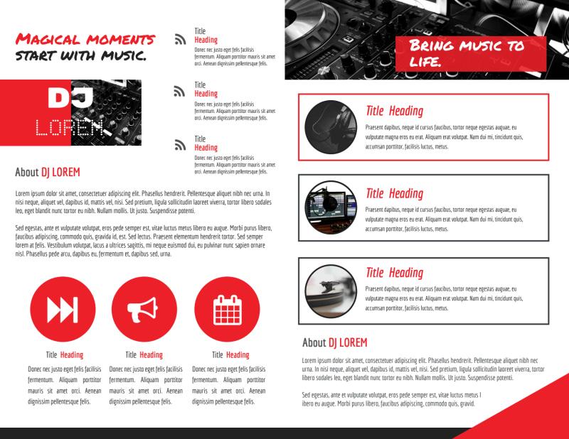 Red DJ Bi-Fold Brochure Template Preview 3