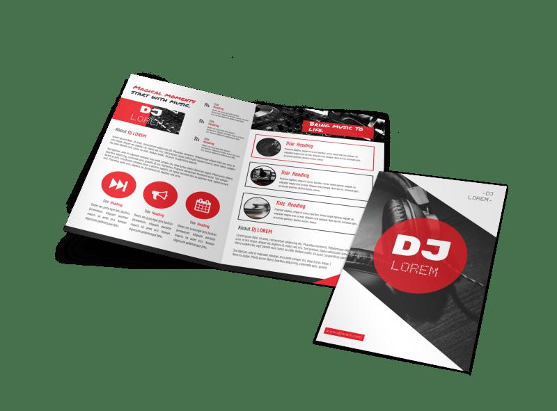 Red DJ Bi-Fold Brochure Template Preview 1