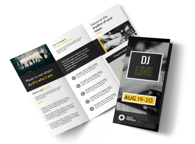 DJ Live Tri-Fold Brochure Template preview