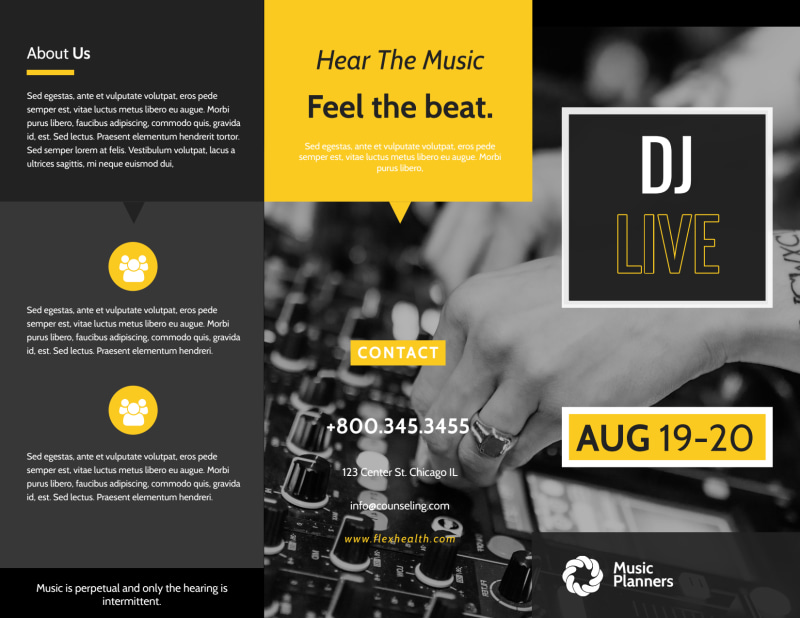 DJ Live Tri-Fold Brochure Template Preview 2