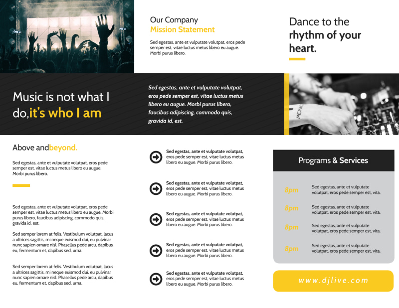 DJ Live Tri-Fold Brochure Template Preview 3