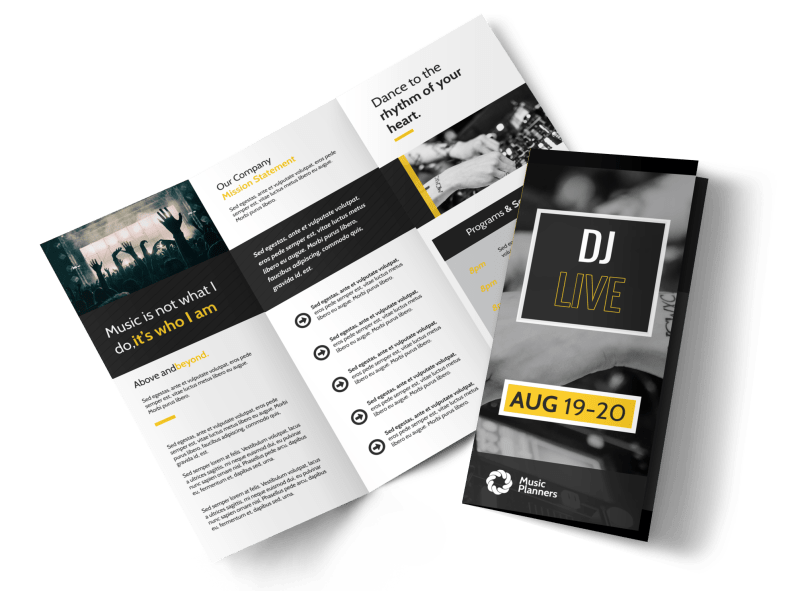 DJ Live Tri-Fold Brochure Template Preview 1