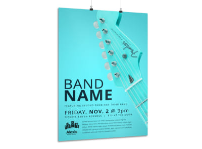 Teal Band Name Poster Template preview