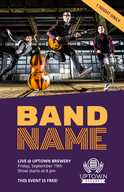Music Band Name Poster Template Preview 1