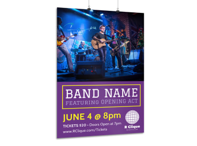 Purple Band Poster Template preview