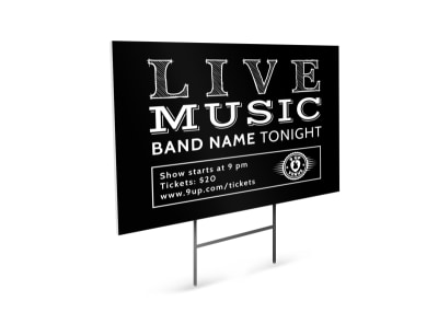 Live Band Yard Sign Template preview