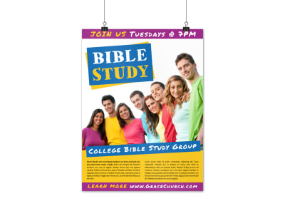 Bible Study Group Poster Template preview