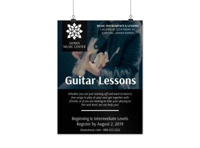 Guitar Lessons Poster Template preview